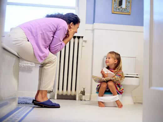 mom and daughter potty training