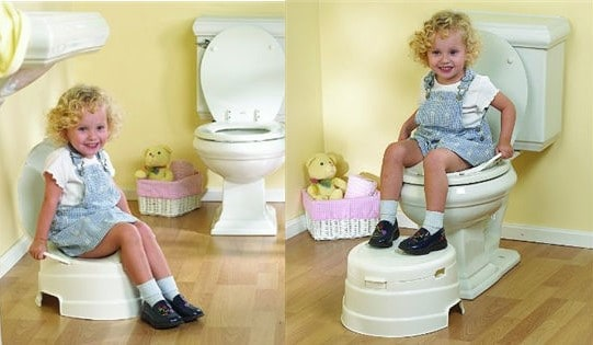 little girl on toilet