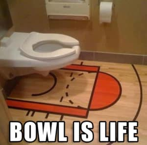 bathroom with basketball theme