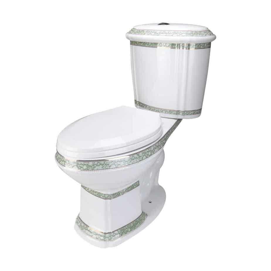 Renovator's Supply White and Green Porcelain Two-Piece Dual Flush Elongated Toilet Gold Accent Seat