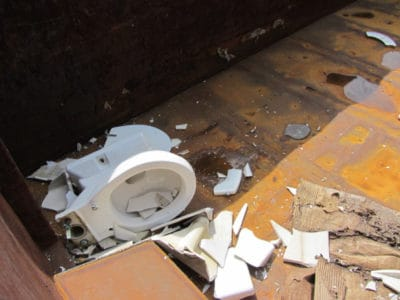 Broken pieces of toilet