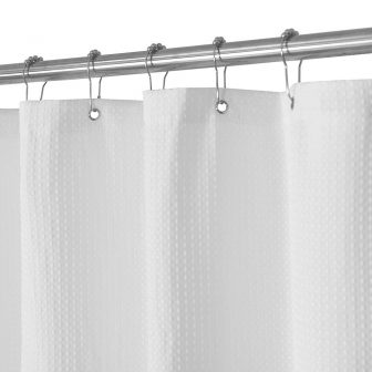 Hotel Quality White Striped Mold Resistant Fabric Shower Curtain for Bathroom Wa